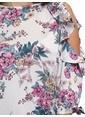 LC Waikiki Omuzu Açık Çiçekli Volanlı Bluz Ekru
